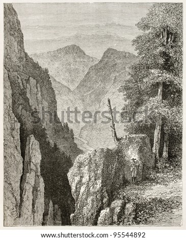 Lierbach valley landscape, Black Forest, Germany. Created by Stroobant, published on Le Tour Du Monde, Paris, 1867
