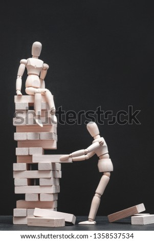 Life and business betrayal. Jealous of success. Standing in the way of triumph of others. Corporate rivalry. Articulated mannequin #1358537534