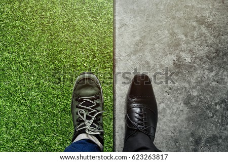 Life Balance concept for Work and Travel present in top view position by half of business oxford and adventure trekking shoes