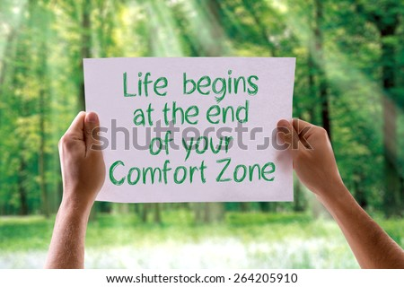 Life Begins at the End of your Comfort Zone card with nature background