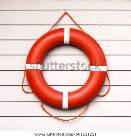 life belt, rescue ring on wooden wall #601111211