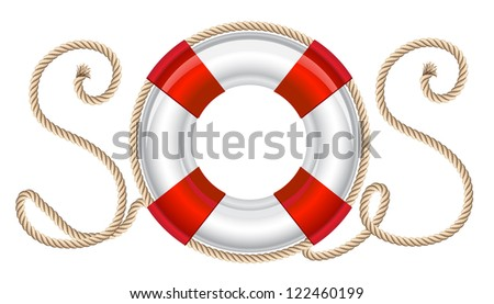 Life belt with rope sos inscription. Raster version. Vector is also available in my gallery - stock photo
