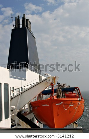 Life boat on a ferry with copy space