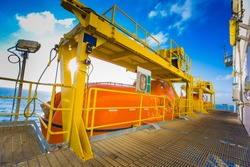Life boat, survival craft,rescue boat at muster station of oil and gas drilling rig used in case of fire for abadon rig or platform