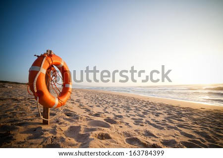 Life Buoy in sunset #163784399