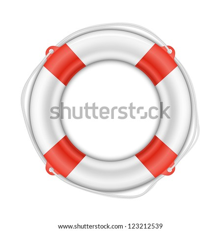 Life Buoy isolated on white background with shadow