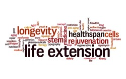 Life extension word cloud. Typography.