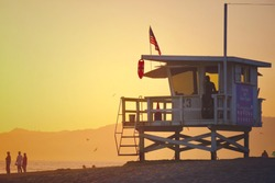 Life guard beach hut LA California