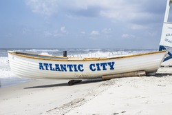 Life guard boat on the beach in Atlantic City, New Jersey.