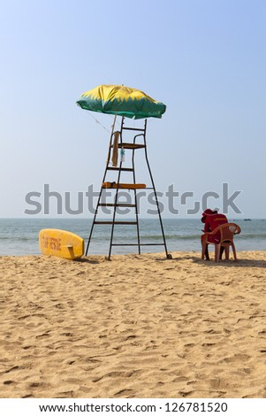 Life Guard on Patnem Beach South Goa - India