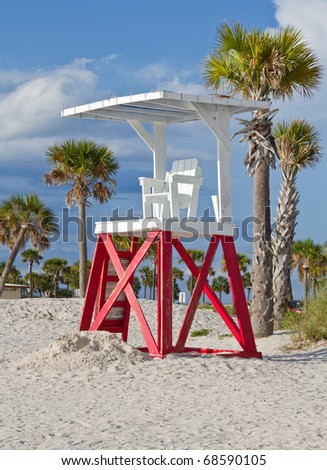 Life guard stand on beach in Tarpon Springs, FL