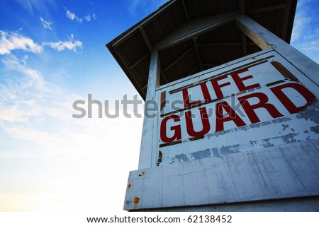 Life guard station, Rayong, Eastern of Thailand - stock photo