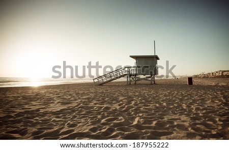 life guard tower at sunset...