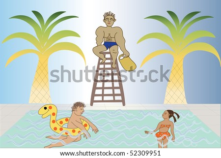 life guard watching over people in a swimming pool.