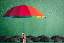 Life-health Insurance protection or business financial leadership concept with leader's hand holding rainbow umbrella on green chalkboard