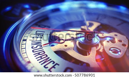 Life Insurance. on Vintage Watch Face with Close Up View of Watch Mechanism. Time Concept. Light Leaks Effect. 3D Illustration.