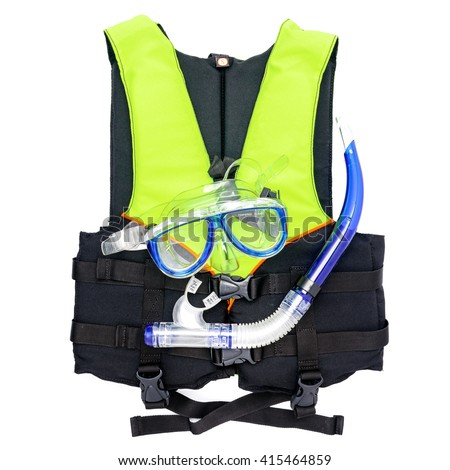 Life jacket and a mask for snorkeling isolated on white background #415464859