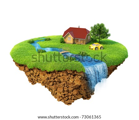Life of a dream. Lawn with house, river, waterfall, tree and sports car. Fancy island in the air isolated. Detailed ground in the base. Concept of success and happiness, idyllic ecological lifestyle.