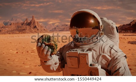 life on planet Mars, astronaut discovers bacterial life on the surface of a rock (3d science rendering)  Stock photo ©