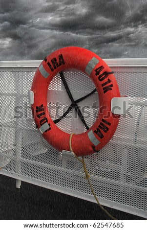 Life preserver attached to ship railing during a storm with the word IRA and 401k painted on it.