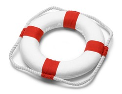 Life Preserver with Rope Isolated on White Background.