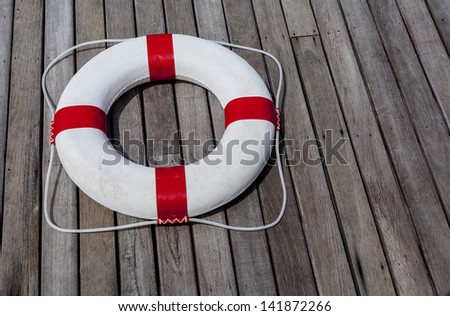 Life Ring at the pool. - stock photo