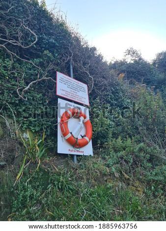 Life Ring, Bec Du Nez, Guernsey Channel Islands Photo stock ©