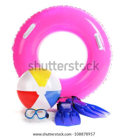 life ring, inflatable ball, flippers and mask isolated on white - stock photo