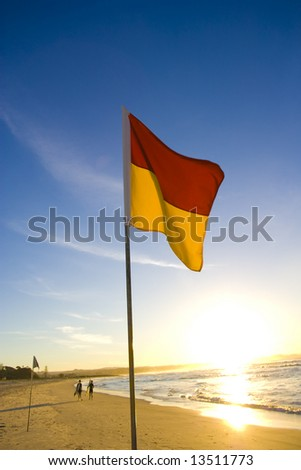 Life saving flag at the beach