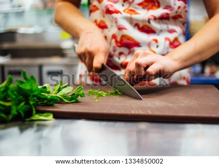 Life style chef cooking food kitchen restaurant cutting cook hands hotel man male knife preparation fresh preparing concept