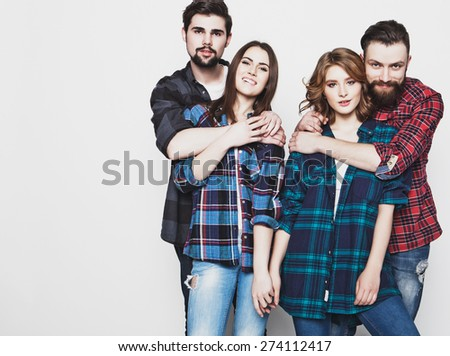 life style, education and people concept:  group of youg happy students isolated on white background