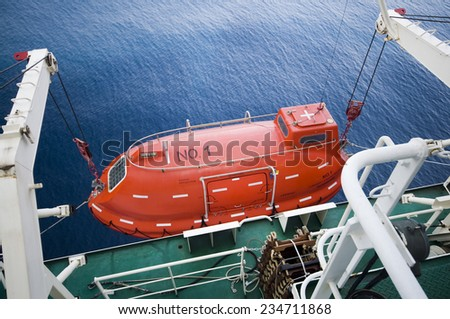 Lifeboat in offshore, rescue boat or rescue team in the sea. #234711868
