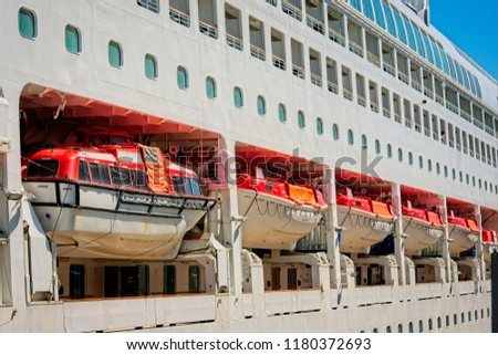 Lifeboat on cruise ship. #1180372693
