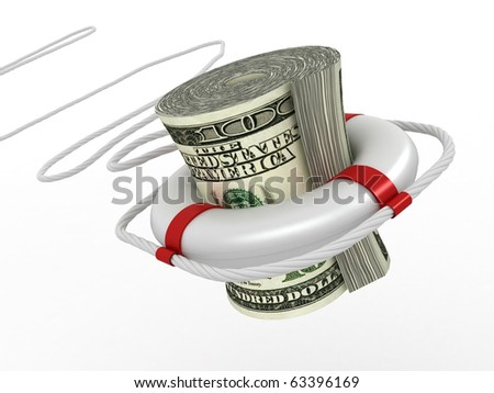 Lifebouy with dollar. 3d