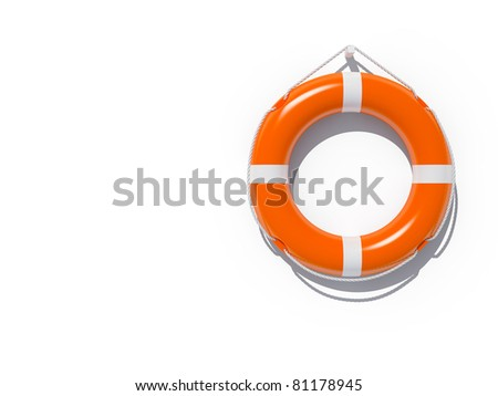 Lifebuoy attached to white wall