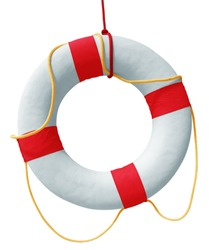 Lifebuoy isolated in white background. Clipping path included.