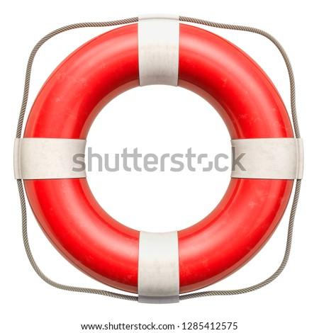 Lifebuoy or lifebelt, 3D rendering isolated on white background Stok fotoğraf ©