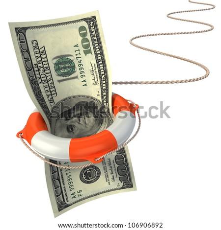 lifebuoy saving dollar 3d concept - dollar crisis