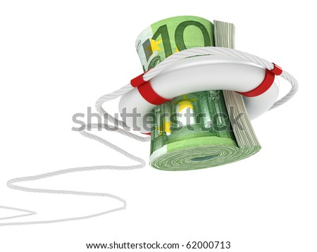 Lifebuoy with dollar. 3d