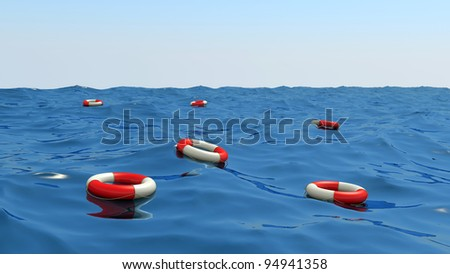 lifebuoys floating on waves, 3d illustration.
