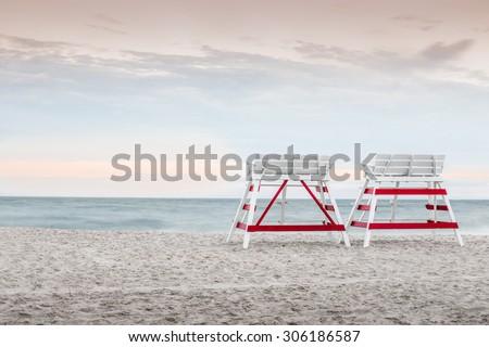 lifeguard chairs on beach