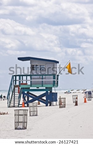 Lifeguard house by the Ocean in Miami Beach Florida