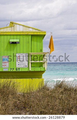 Lifeguard house by the ocean in Miami Beach Florida with clouds in the sky