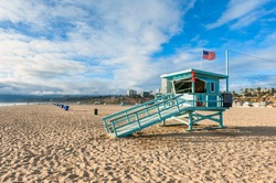 Lifeguard Hut on Santa Monica Beach California