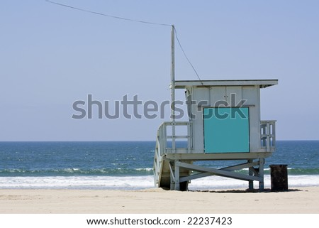Lifeguard hut on the Malibu beach. Blank panel on the front to write anything you want.