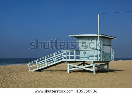 Lifeguard observation tower station at Santa Monica beach, California
