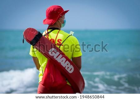 lifeguard on duty on the beach Foto stock ©