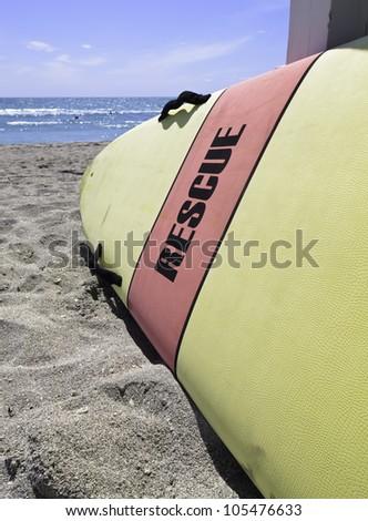 Lifeguard rescue board ready to go