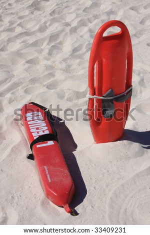 Lifeguard rescue equipment on beach