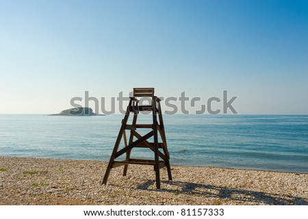 Lifeguard seat on an idyllic Mediterranean beach